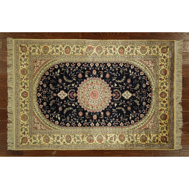 Kashan Silk Midnight Blue-Ivory Rug - 4' x 6' - Image 2 of 8