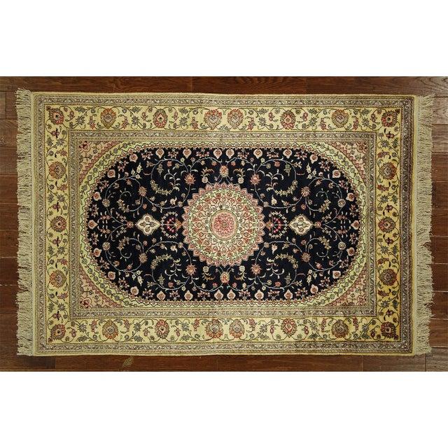 Image of Kashan Silk Midnight Blue-Ivory Rug - 4' x 6'