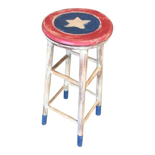 Hand Painted Americana Swivel Bar Stool
