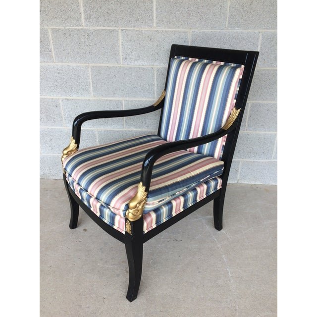 Ethan Allen Dolphin Federal Black/Gold Trim Upholstered Arm Chair - Image 4 of 10