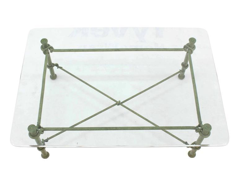 Rectangle Wrought Iron Base Glass Top Coffee Table   Image 2 Of 8