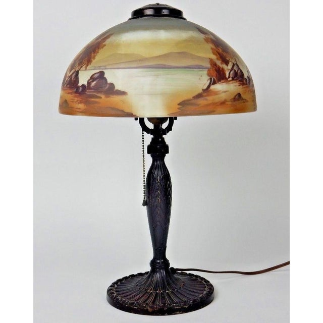 Antique Signed Pittsburgh Electric Reverse Painted Table Lamp - Image 8 of 11