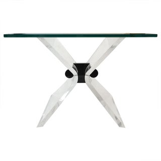Lucite & Glass Butterfly-Style Table