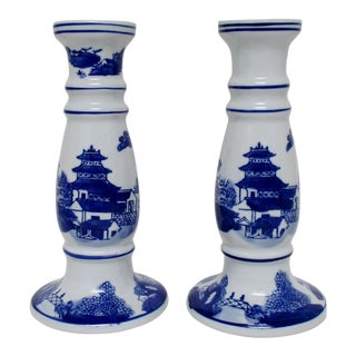Chinoiserie Porcelain Candlesticks - a Pair
