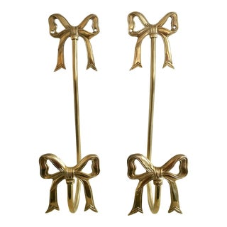 Brass Bow Tie Back Wall Hooks - Vintage Pair
