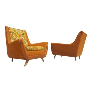 Mid Century His & Hers Lounge Orange Pearsall Style Chairs - a Pair