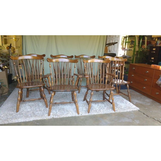 Antique Heirloom Fiddle Back Chairs - Set of 8 - Image 2 of 7