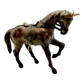 1950s Leather Wrapped Horse Sculpture Figurine