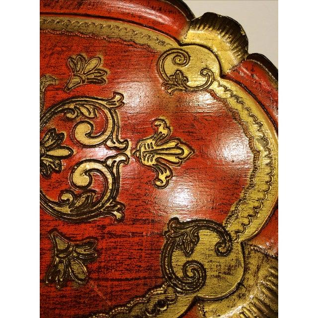 Vintage Florentine Craved Gold Leaf Orange Tray - Image 4 of 7