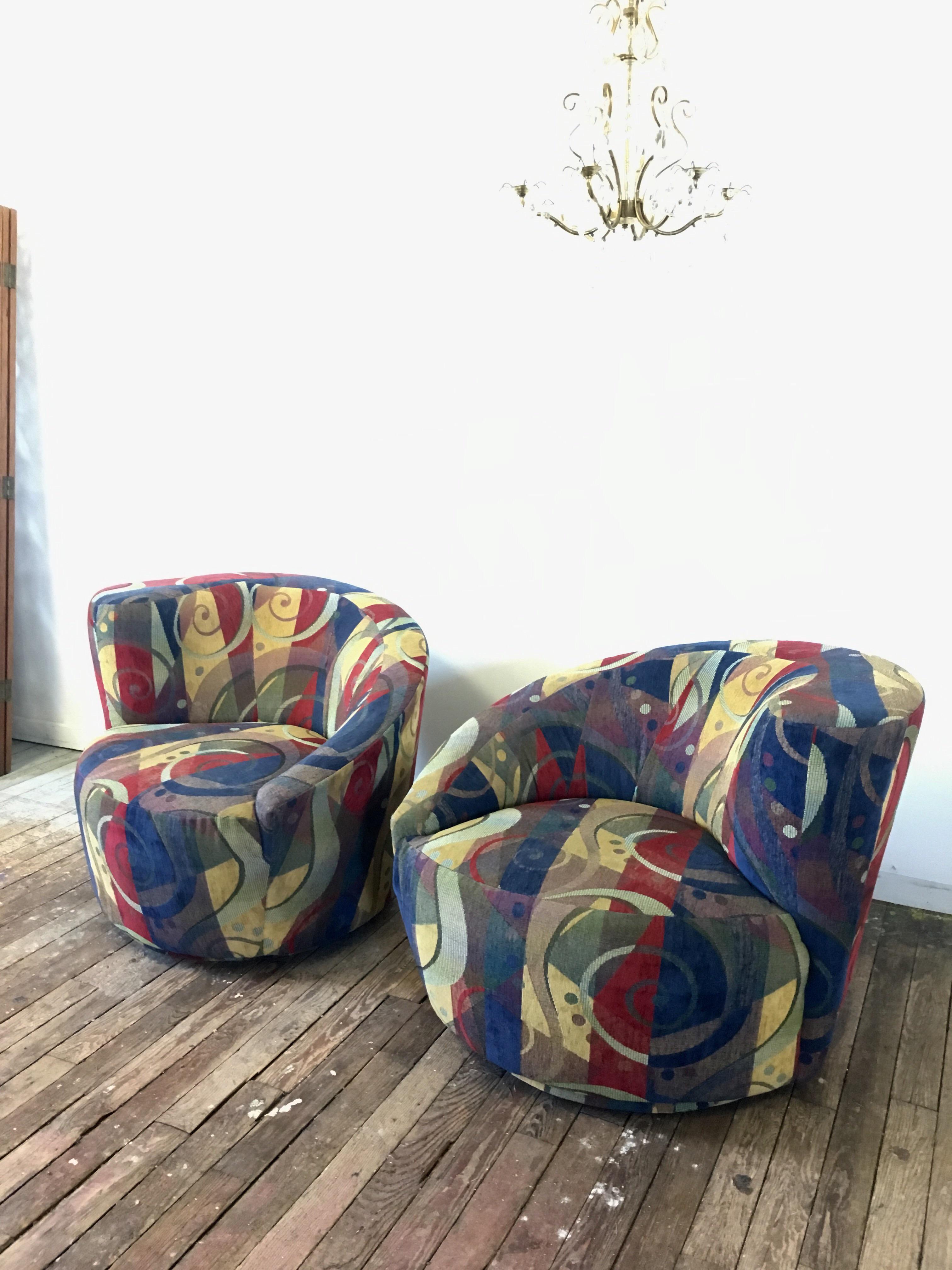 Vladimir Kagan Nautilus Swivel Chairs U0026 Ottoman   Set Of 3   Image 3 Of 10