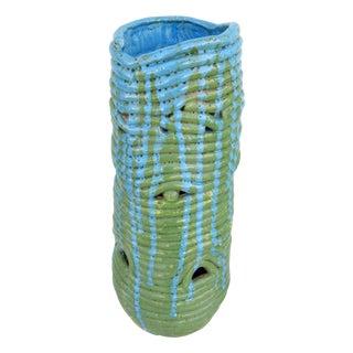 Turquoise Mid-Century Coil Vase