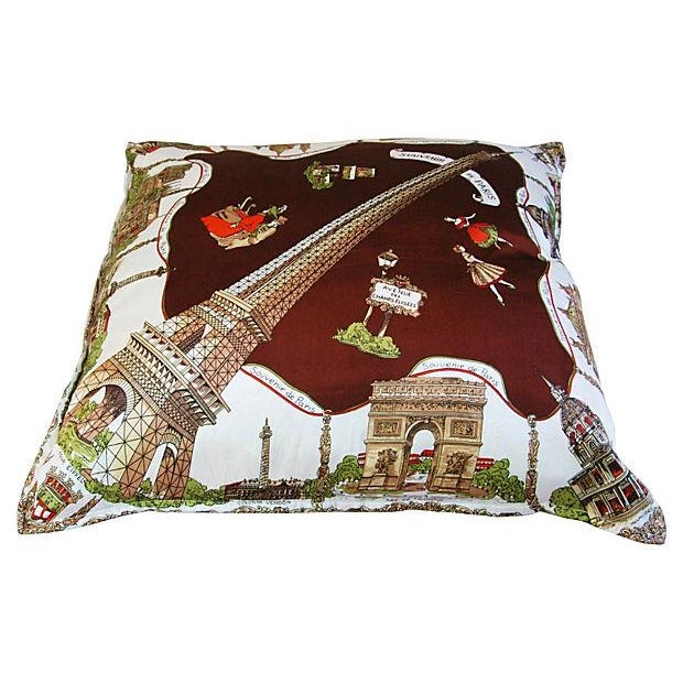 Souvenir de Paris Silk Scarf Pillow - Image 3 of 8