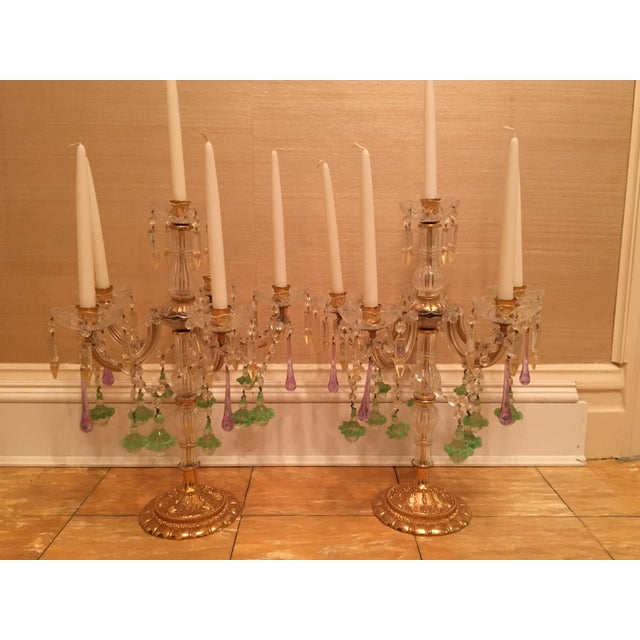 Image of Venetian Crystal & Glass Candelabras - A Pair