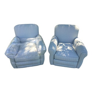 Gray Tweed Designer Club Chairs - A Pair