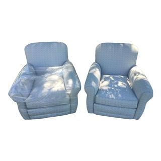 Gray Tweed Designer Club Chairs - A Pair