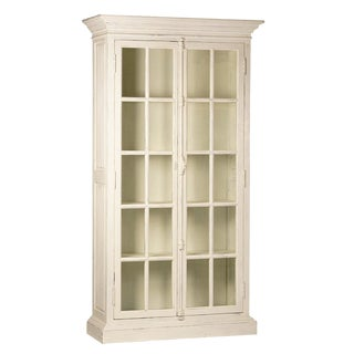 Antiqued White Glass Door Cabinet