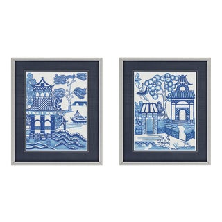 Framed Blue Willow Pictures - A Pair