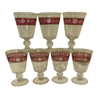 Cranberry & Gilt Accented Etched Goblets - Set of 7
