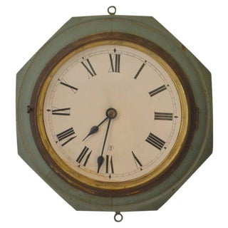 Early 1900s Wooden Electric Wall Clock with Roman Numerals