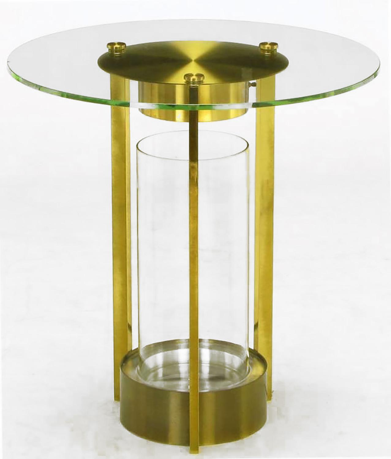 Brass U0026 Glass Cylindrical End Table Attributed To Dorothy Thorpe   Image 2  ...