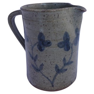 Mid Century Floral Pottery Pitcher