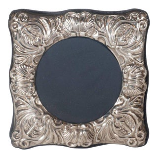 19th Century British Sterling Silver Picture Frame with Repoussé Baroque Designs