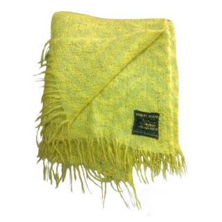 Vintage Yellow & Green Mohair Throw
