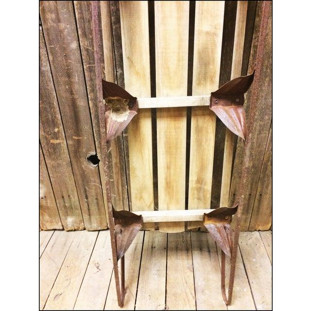 Vintage Brown Weathered Wood & Metal Runner Sled - Image 10 of 11