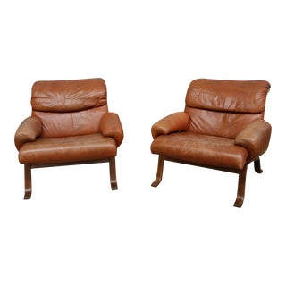 Göte Möbel Swedish Leather Lounge Chairs- A Pair