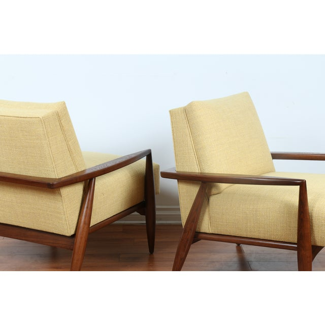 Mid-Century Ecru Lounge Chairs - A Pair - Image 3 of 11