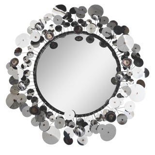 Curtis Jere Raindrops Silver Sculpture Wall Mirror