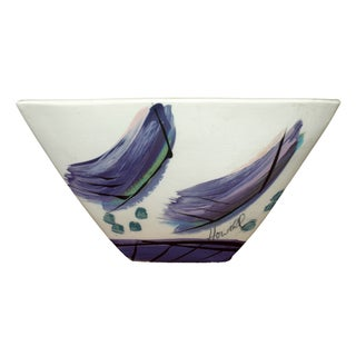 Signed Hand Painted Glazed Ceramic Triangular Bowl