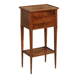 French 1920s Wooden Side Table with Star Inlay, Three Drawers and Lower Shelf