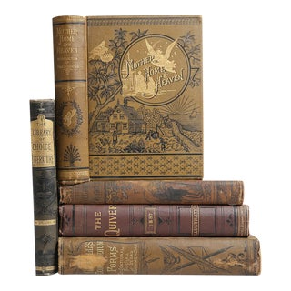 Antique Earthtone Book Stack - Set of 5