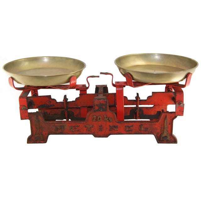 Vintage Large Red Table Scale - Image 1 of 2