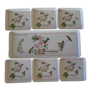 Italian Audubon Hummingbird Trays - Set of 7