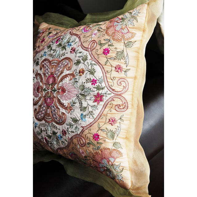 Silk Embroidered Pillow Cover - Image 3 of 6