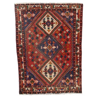 Hand-Knotted Persian Shiraz Rug- 4′6″ × 6′6″