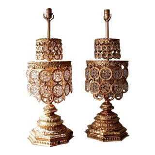 Mid Century Gilded Gold and Crystal Large Chandelier Table Lamps - a Pair