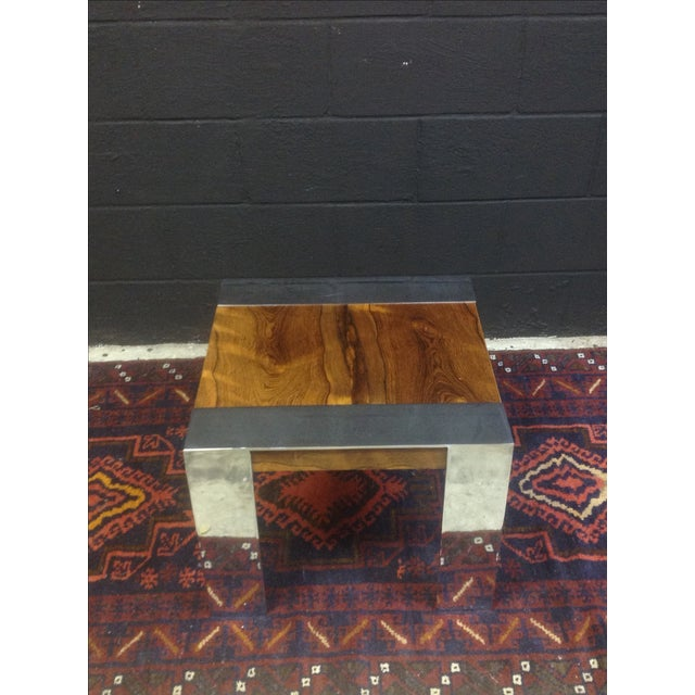 Milo Baughman Rosewood And Chrome Side Table - Image 4 of 6