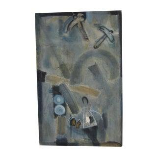 "Midcentury Modern ""Rhapsody in Blue"" Painting"