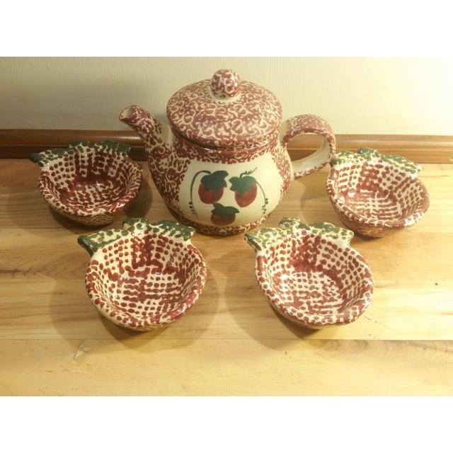 Ceramic Speckled Strawberry Motif Pitcher & Bowls - Set of 5 - Image 3 of 8