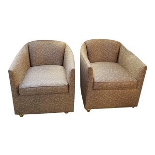 Mid-Century Barrel Chairs on Brass Castors in Beige Angelo Donghia Fabric - a Pair