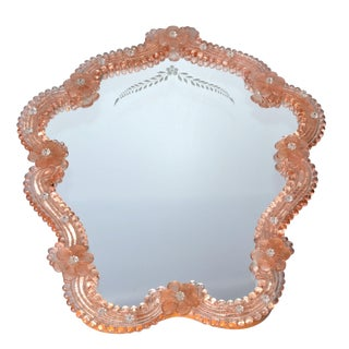 Pink Venetian Murano Glass Wall Mirror