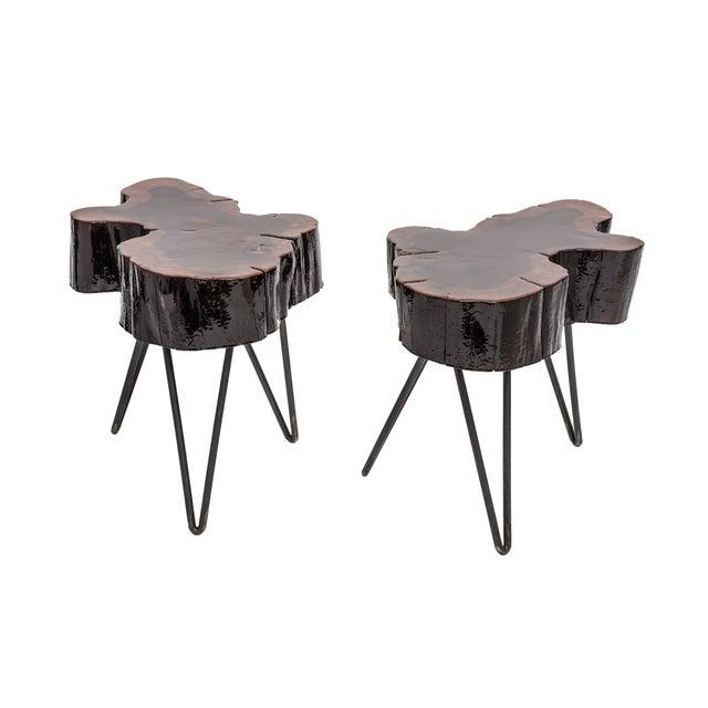 Image of Burlwood and Steel Side Table