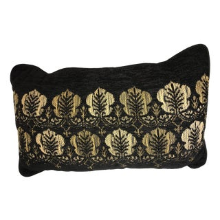 Moroccan Chenille Black & Gold Oblong Decorative Pillow