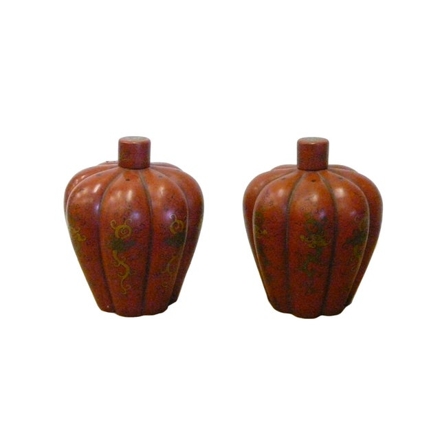 Chinese Red Orange Lacquer Lidded Containers -Pair - Image 2 of 6
