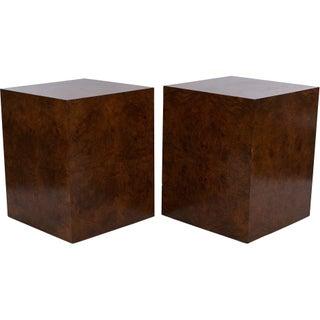Milo Baughman Walnut Burl Cube Tables - A Pair