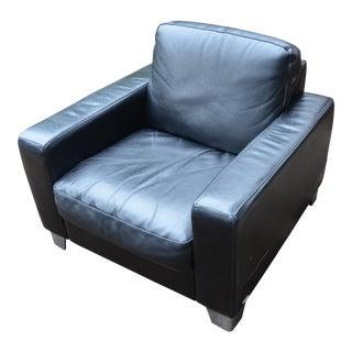 Natuzzi Italian Modern Black Leather Club Chair