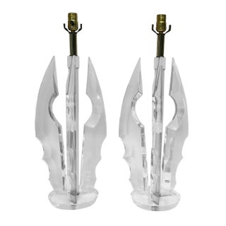 Mid-Century Modern Lucite Table Lamps - A Pair